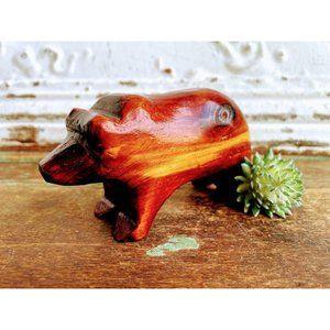 Vintage Carved Wood Bear Figurine Signed